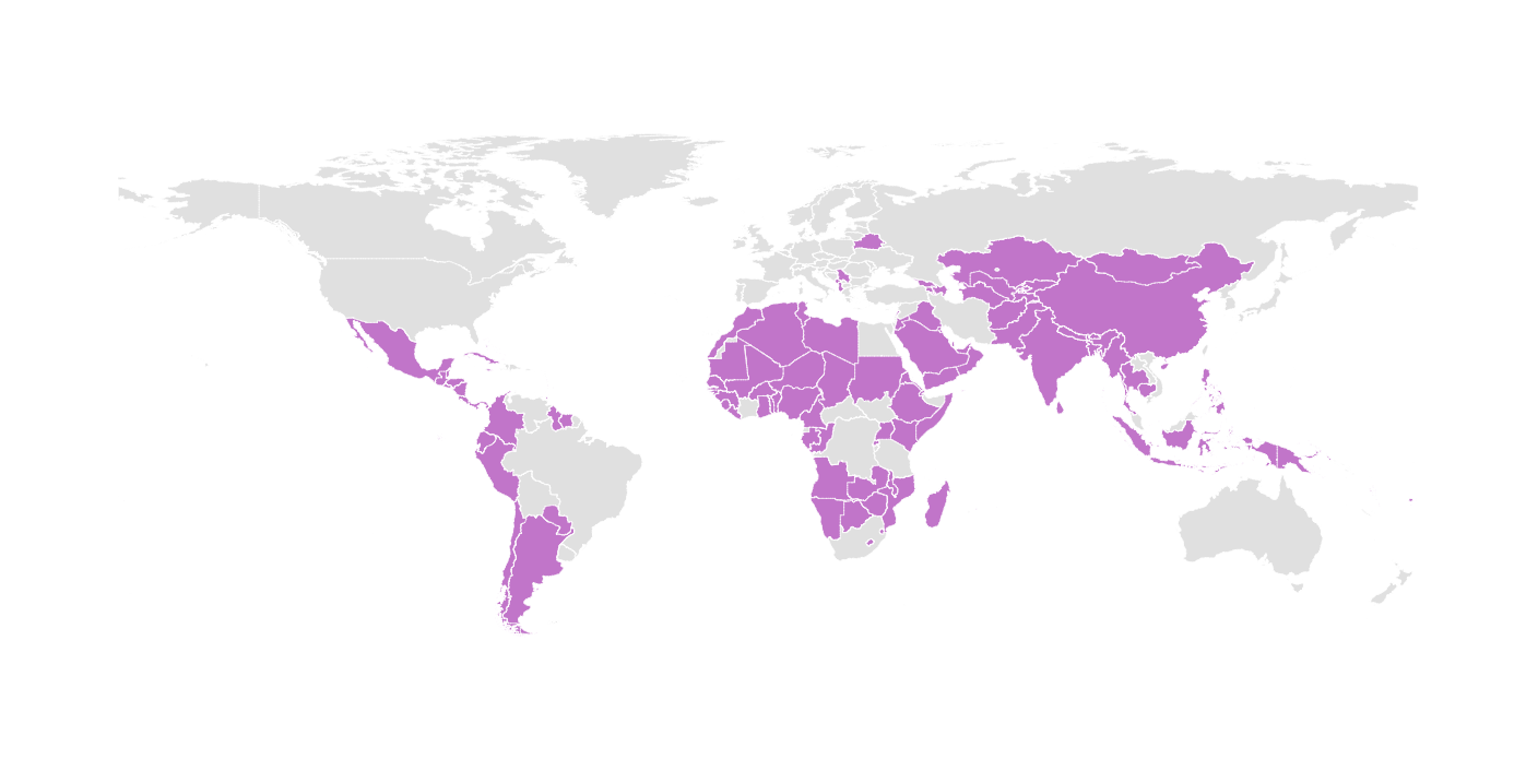 The map shows the countries that don't have a child seat standard for the vehicles. It is interesting that most of the Asian and African countries don't have a law about this safety issue.