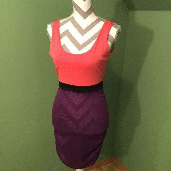 Purple and black block dress