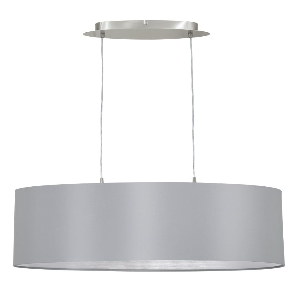 Best Eglo Maserlo Oval Grey And Silver Fabric Pendant Light In 400 x 300