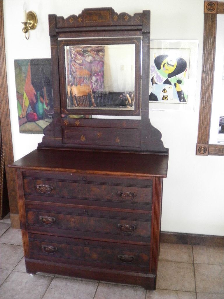 Antique Victorian 1800s Eastlake Hand Painted Dresser U0026 Beveled Mirror. I  Used To Have A