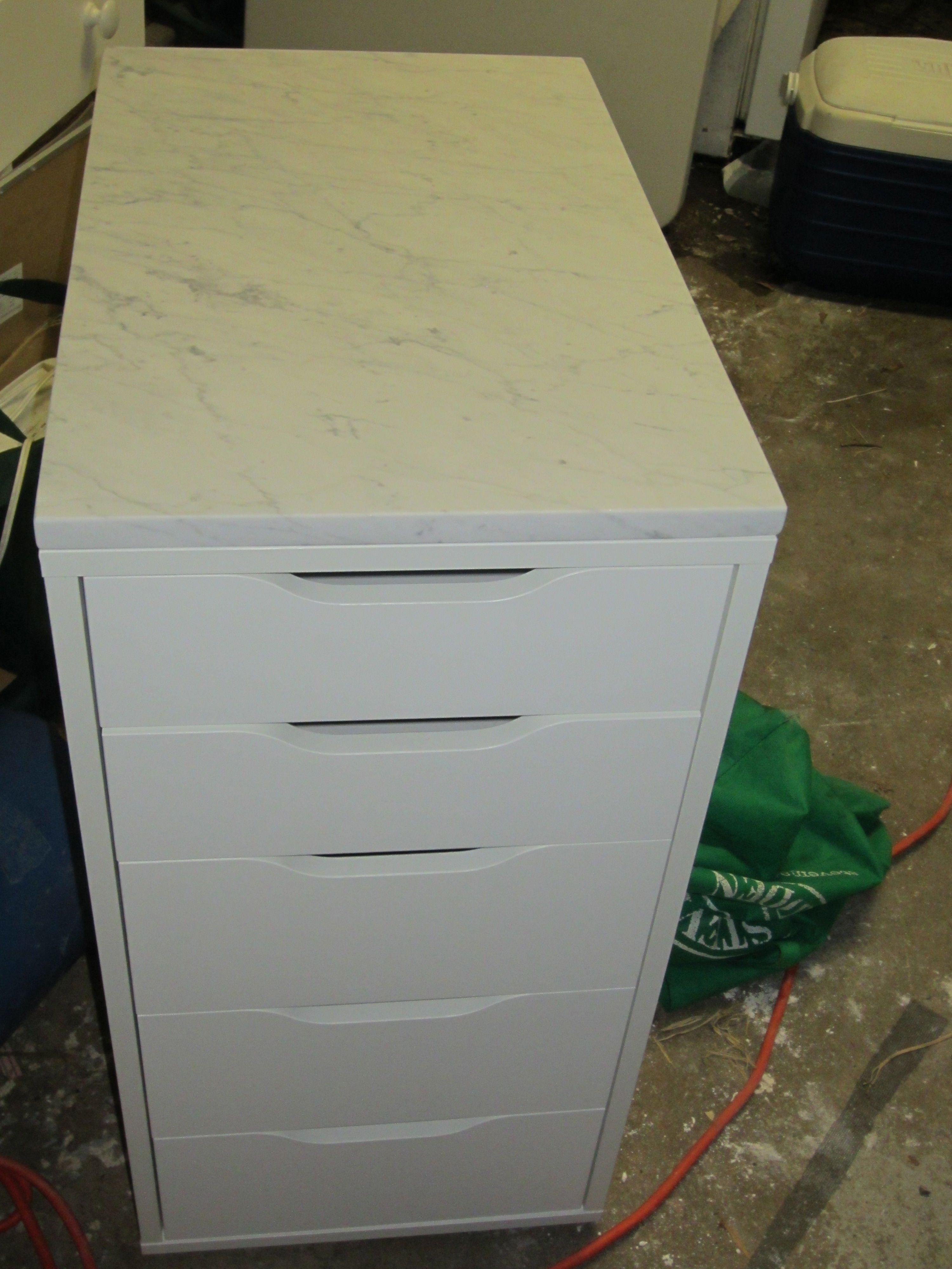 ikea alex with white cararra marble top Ikea alex