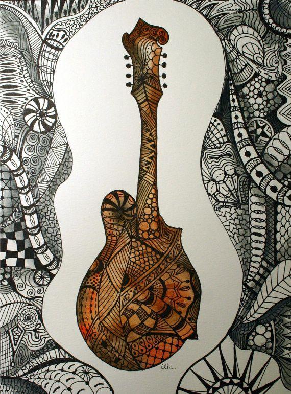 Mandolin Zentangle Zentangle Art Watercolor Art Prints Tangle Art