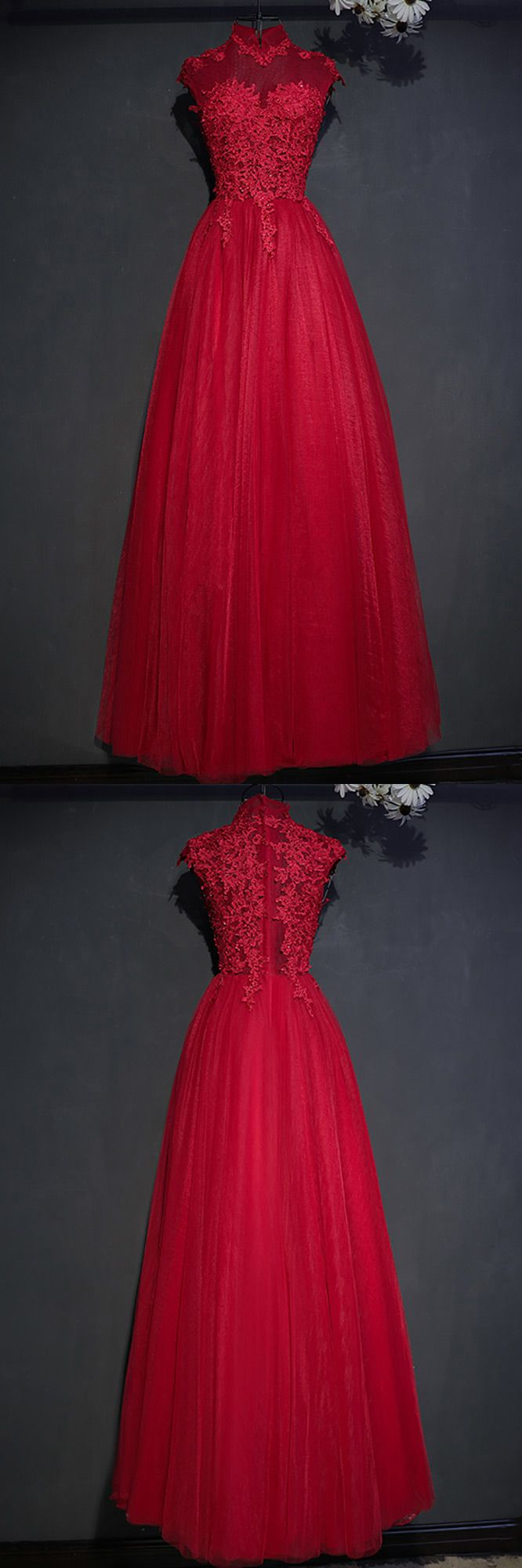 Vintage lace high neck long tulle prom party dress burgundy