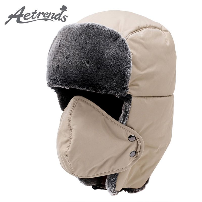 8c44dc5bb27a6 2017 Winter Hat Mask Bomber Hats For Men Women Russian Warm Caps Thicken  with Ear Flaps Cotton Fur Balaclava Z-6090