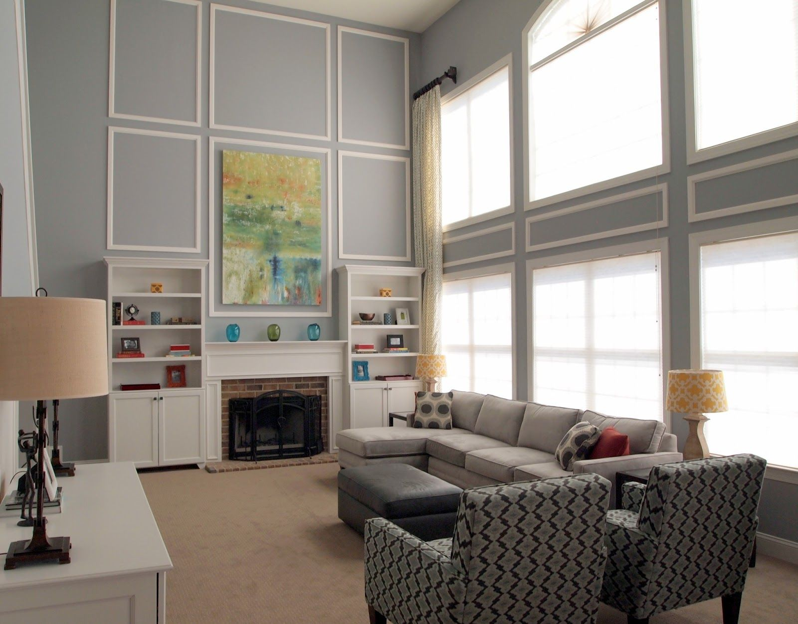 Gray And White Scheme Color Ideas For Living Room Decorating With Modular Fabric L Shaped
