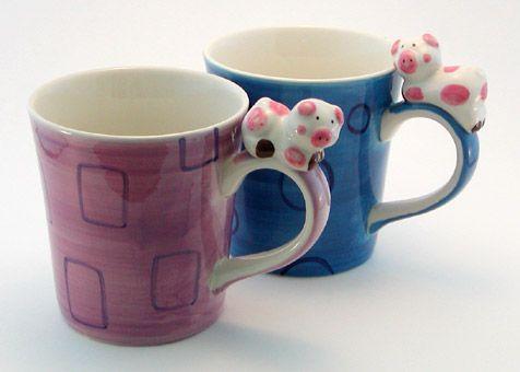 Blue & Purple Piggy Mugs with Piggy Handles