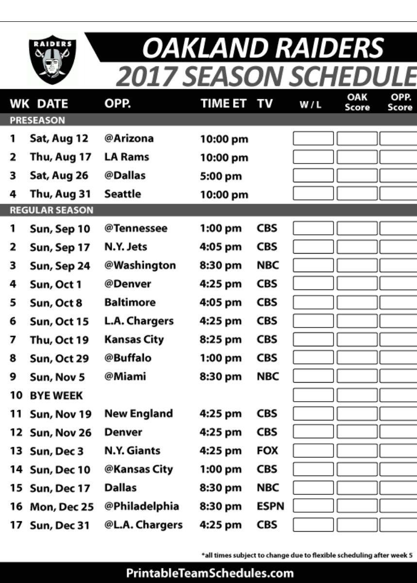 Oakland Raiders 2017 Schedule Raiders football, Oakland