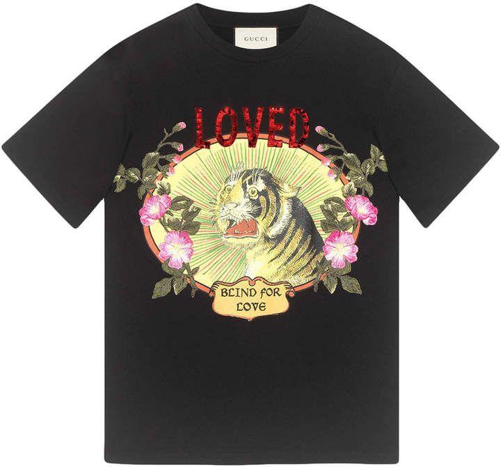 Gucci T-shirt in cotone con stampa tigre  b42de71c2012