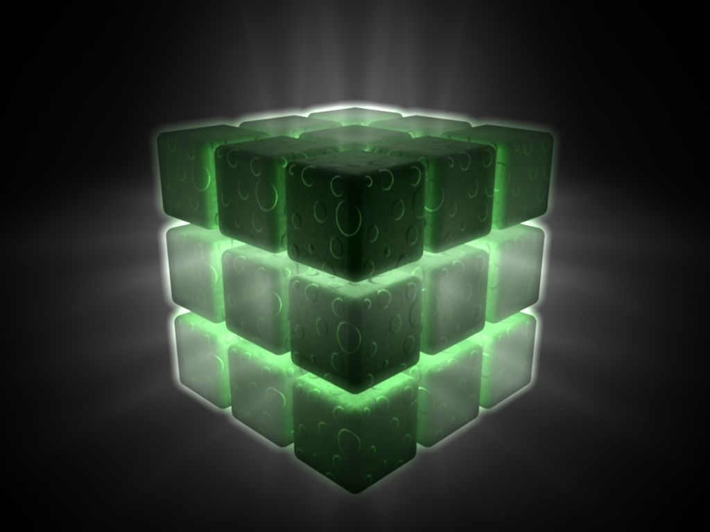 Awesome 3d Black Cube Issued A Green Light Background Hd Wallpaper Background Hd Wallpaper Lights Background Cottonwood Heights