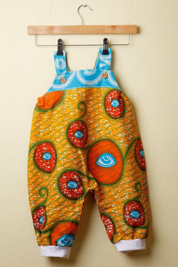5ded79a1f7c Blue   Orange Ankara Print Baby Romper by Amedee on Etsy