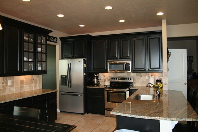 Kitchen Ideas Black Cabinets refinished black cabinets. color sherwin williams tricorn black