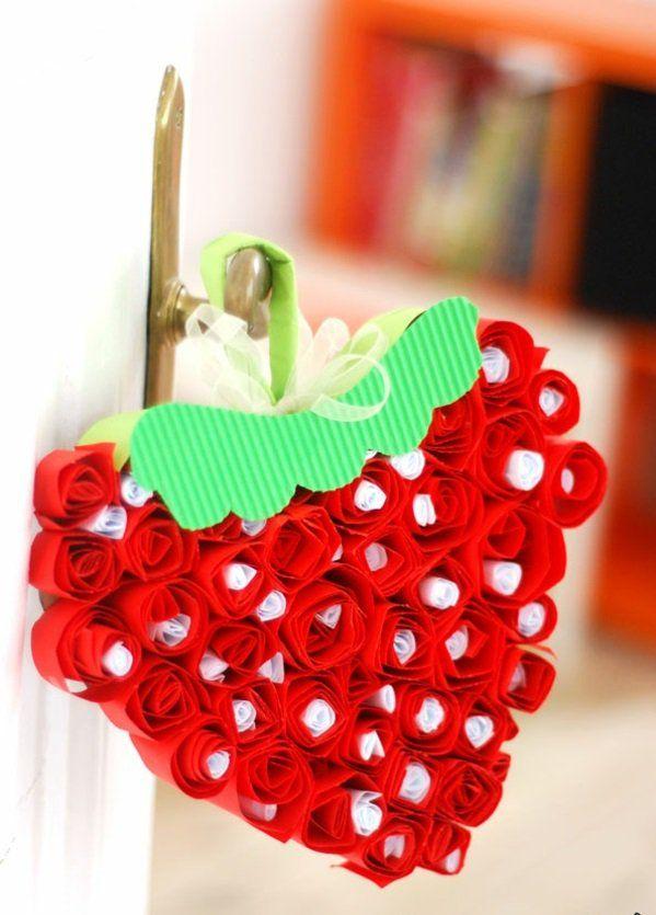 Valentinstag Geschenke Basteln Erdbeere