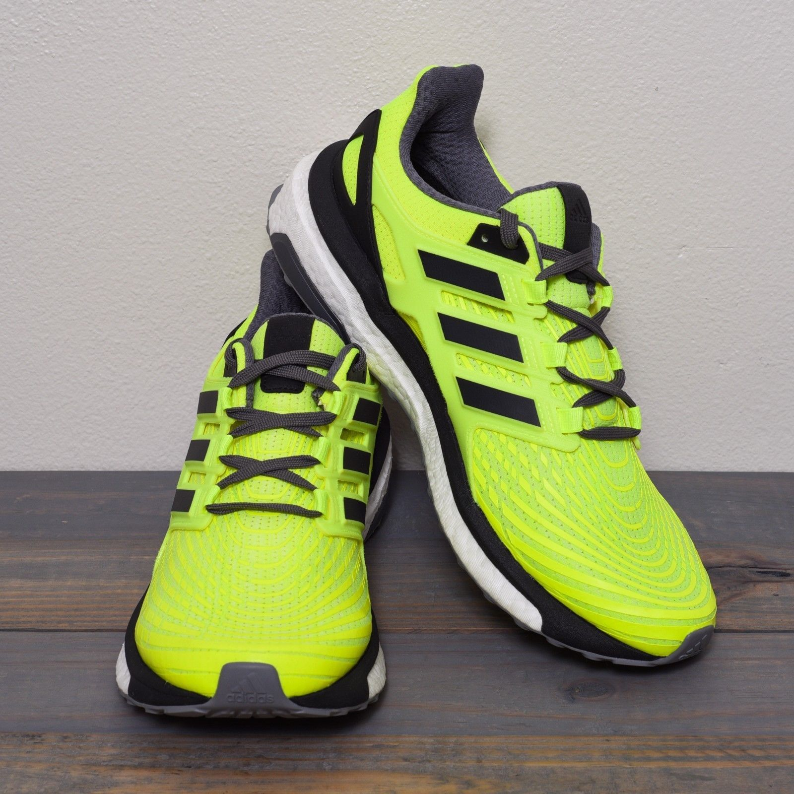 reputable site a84b4 f8d54 Adidas Energy BOOST Men s Size 10 Running Shoes Solar Yellow Black Grey  BB3455