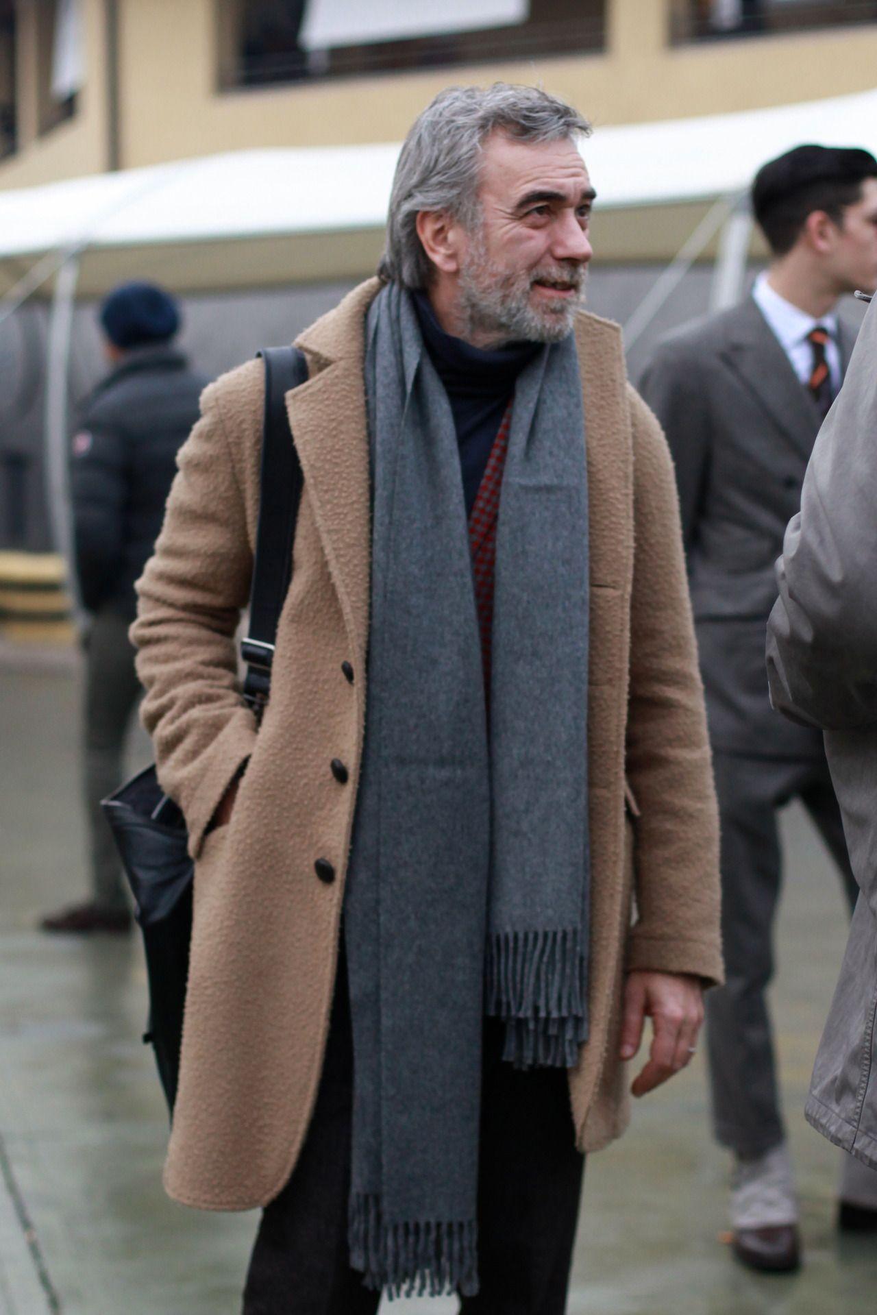 Men's Camel Overcoat, Burgundy Blazer, Navy Turtleneck, Black ...