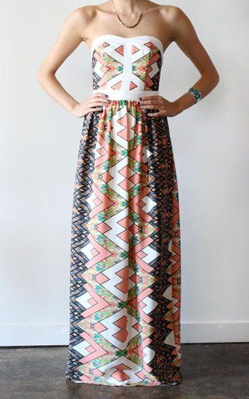 Lavendar Brown Strapless Printed Maxi Dress Front