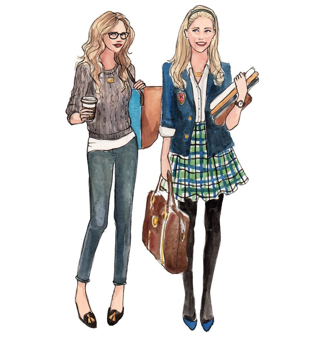"""It's the first Thursday of fall! #tbt to these back-to-school-babes I sketched once upon a time for @threejaneny @mapsbyajaffe look closely and you'll see…"""