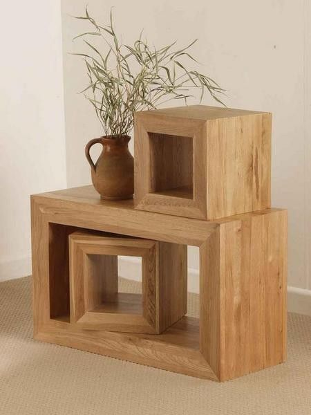 Solid Oak 3 Cube Nest Of Tables
