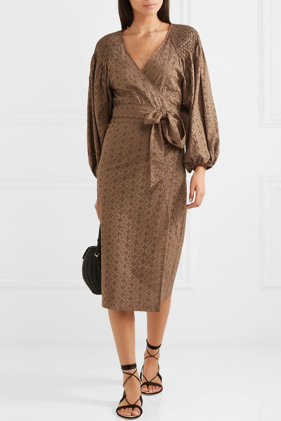 Marysia pink sands broderie anglaise cotton wrap dress neta