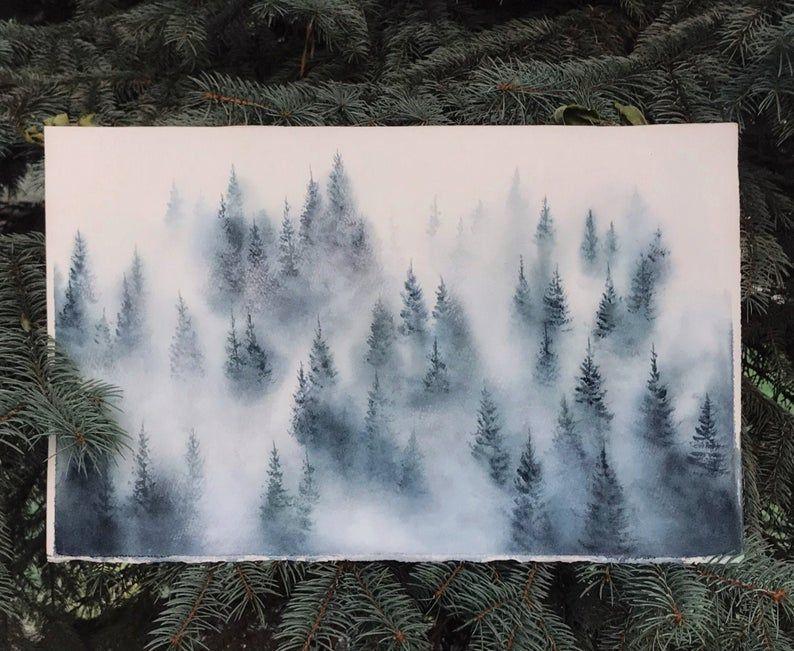 Original watercolor painting. For sale. #mistyforest #watercolorforest #fog #forest #greenforest #aquarelle #aquarellepainting