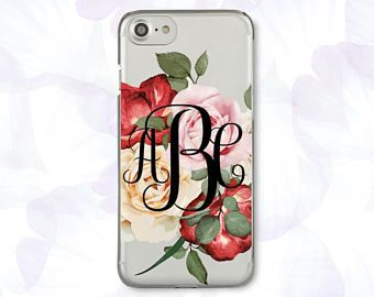 best service f4ba8 9f32a Floral iPhone 8 Case Monogram iPhone 8 Plus Case Customized iPhone 7 ...