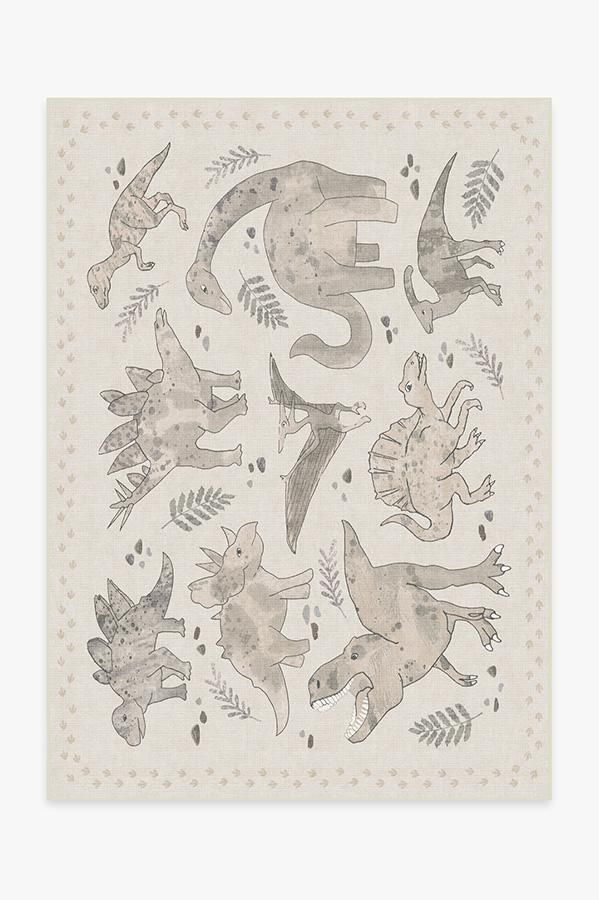 Dinosaur Parade Warm Grey Rug