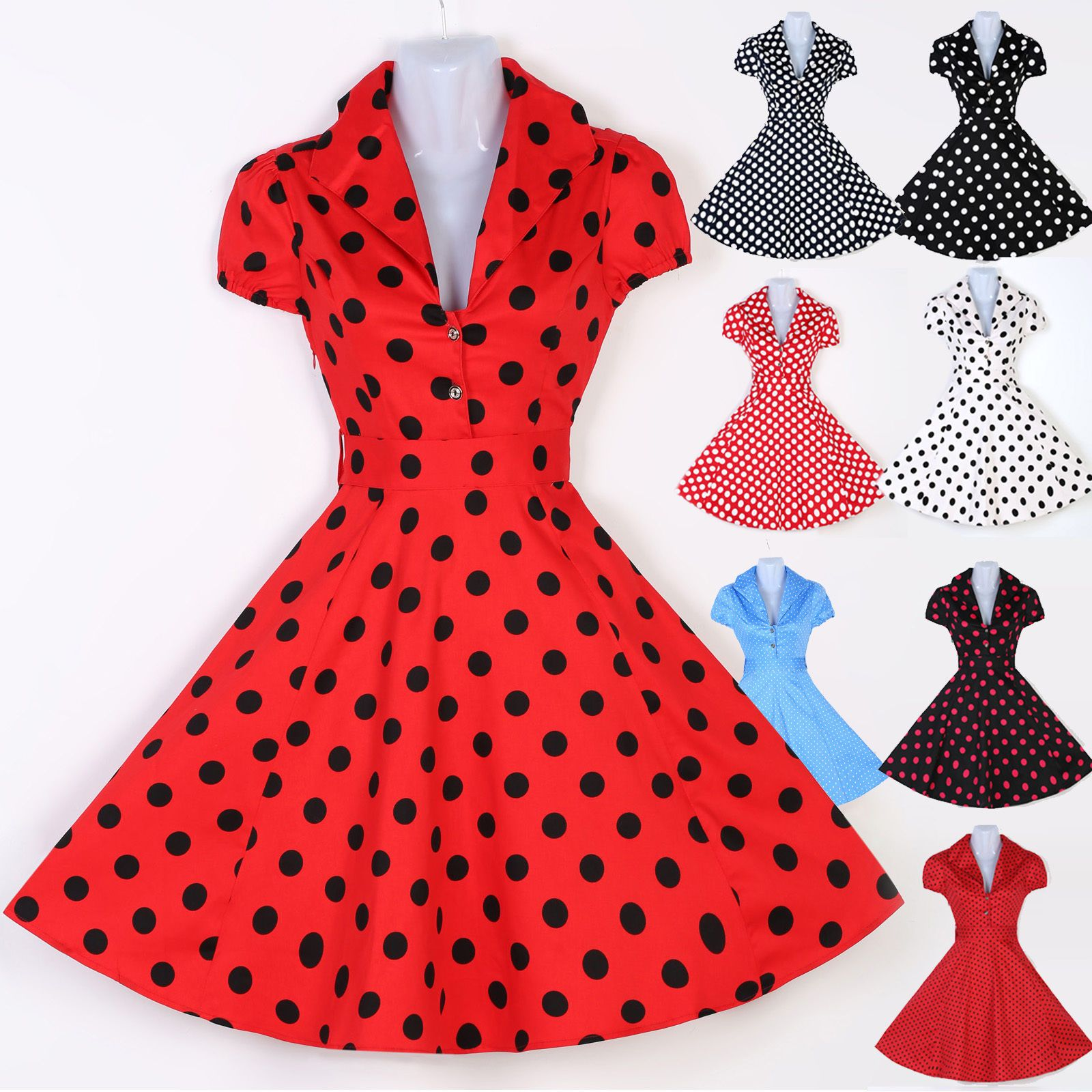 Plus size red polka dot pinup swing us s housewife dress vintage
