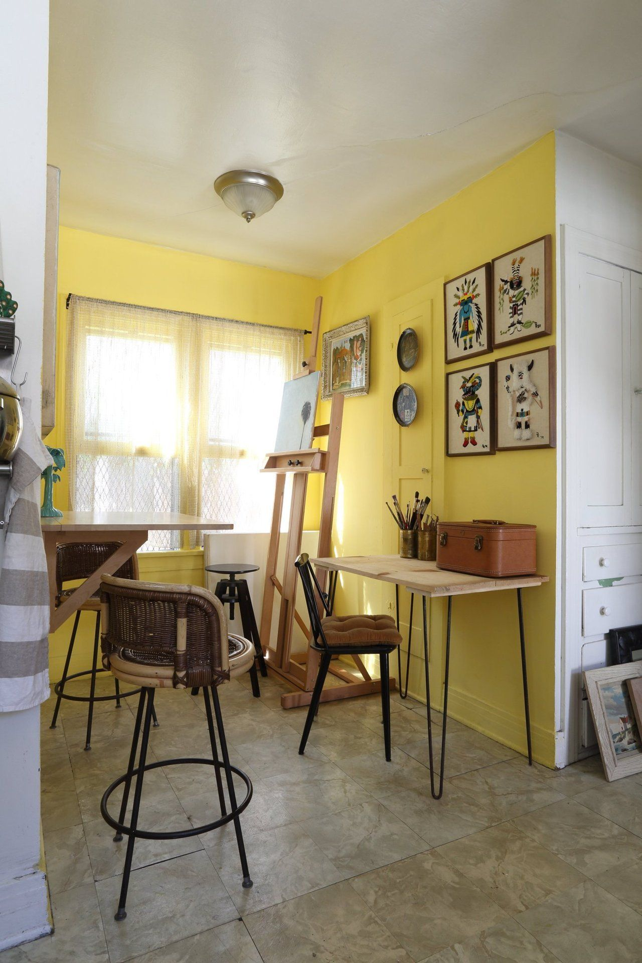Adam\'s Eclectic Vintage Bungalow | Yellow wall paints, Dining room ...