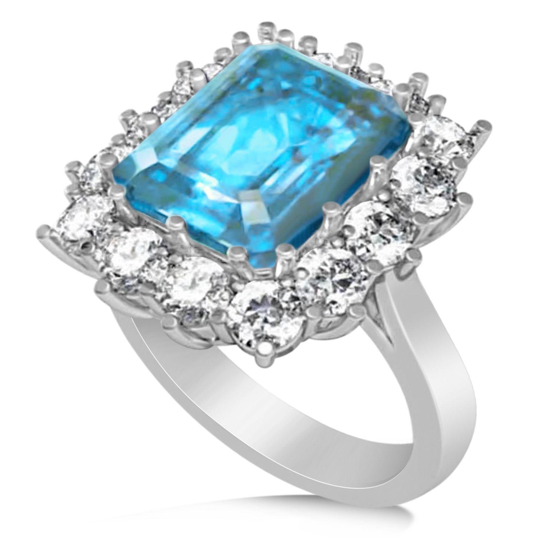 2fc37017169af Emerald Cut Blue Topaz & Diamond Lady Di Ring 18k White Gold (5.68ct ...