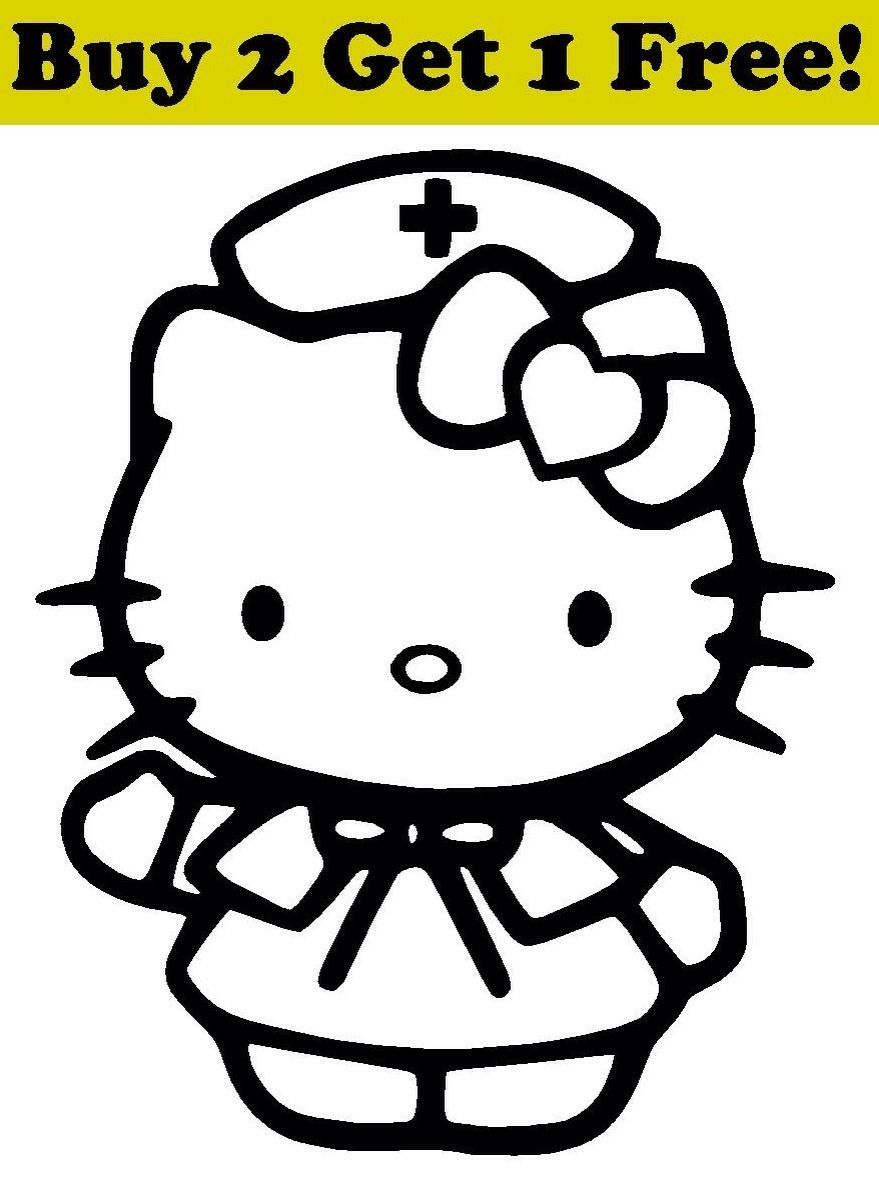 Hello Kitty Nurse Decal Sticker Car Bumper Window Wall Cute Cat Medical Rn Lpn Nurse Decals Hello Kitty Car Bumper [ 1178 x 879 Pixel ]