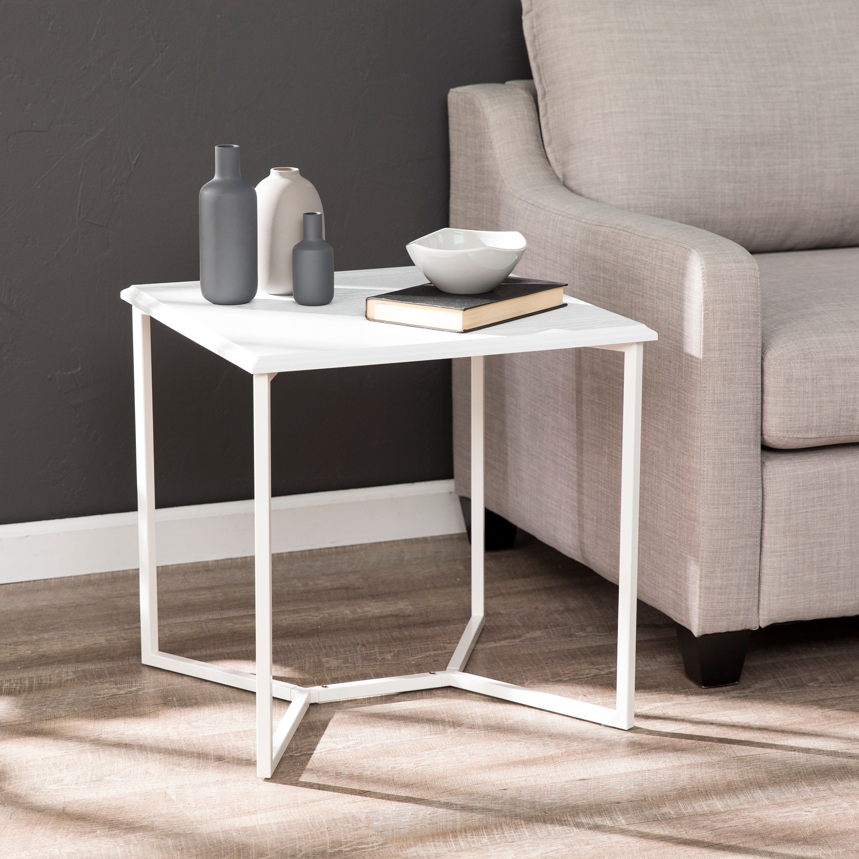 Porch Den Mc Lean White Square End Table Furniture Chic