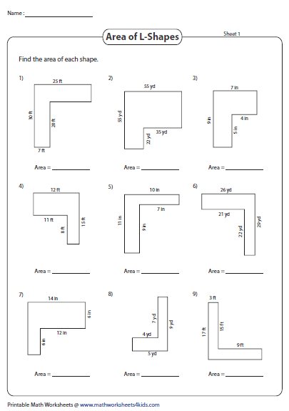 Area Of Rectilinear Shapes L Shapes Area Worksheets Area And Perimeter Worksheets Maths Area