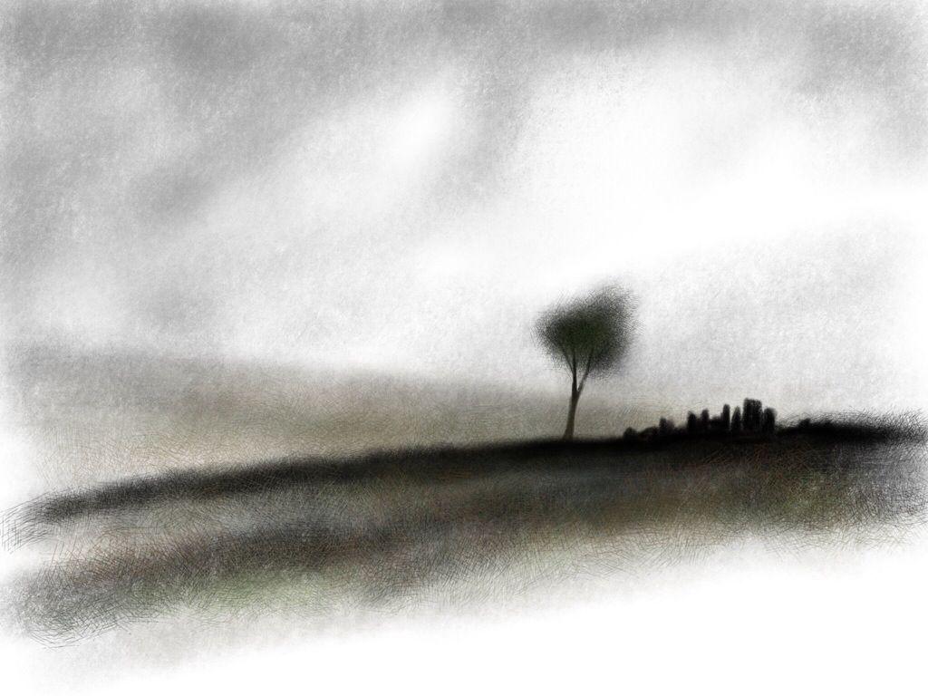 The Ruin Charcoal Sketch Moorland Ruin Digital Finish