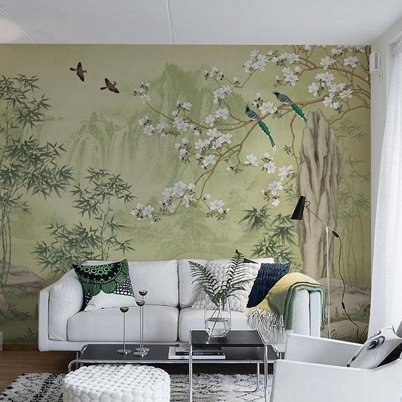 Zitrone Grüne Landschaft Malerische Tapete Wand Wandbild