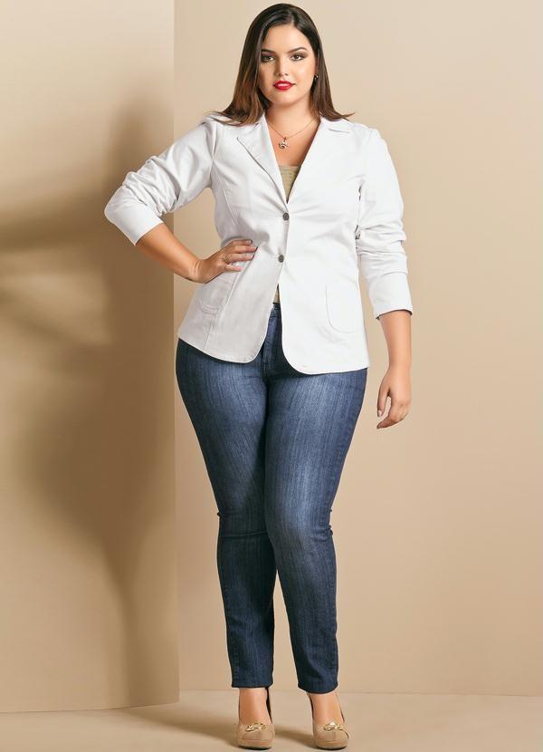 35fc36597 Blazer Feminino Plus Size Branco - Posthaus … | Real women | Plus …