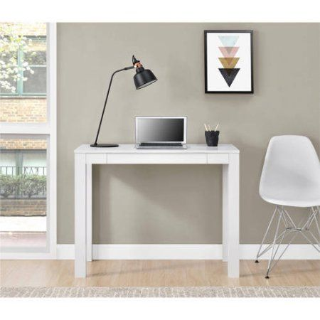 Ameriwood Home Parsons Computer Desk With Drawer White Walmart Com Desk With Drawers Parsons Desk Small White Desk