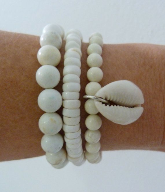 beachcomber white shell mermaid bracelet trio by beachcombershop