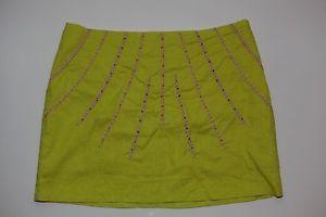 Rampage Sz s Lime Green Linen Blend Beaded Lined Zippered Mini Skirt Above Knee | eBay