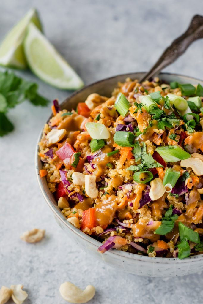 Crunchy Cashew Thai Quinoa Salad Vegan Gluten Free