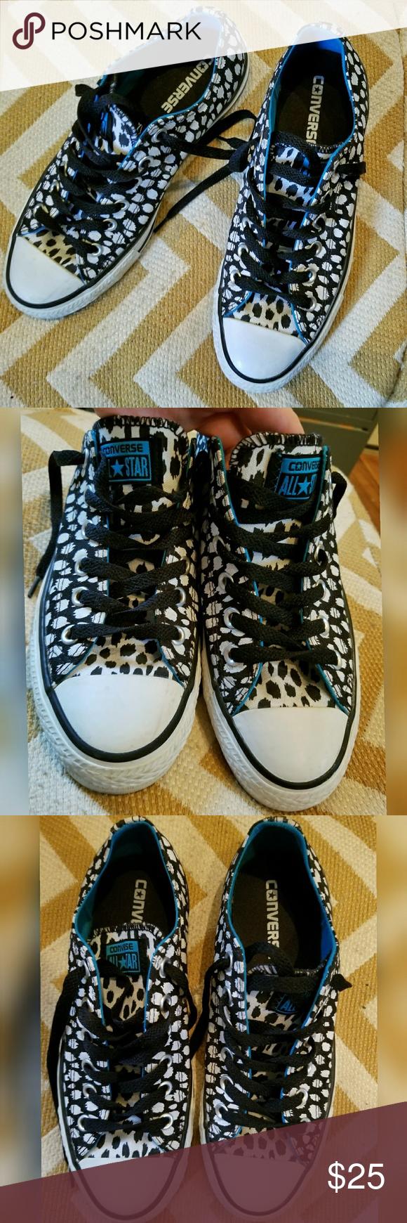8600f3ad84abbd Converse Black   White Cheetah Spots Sneakers 8