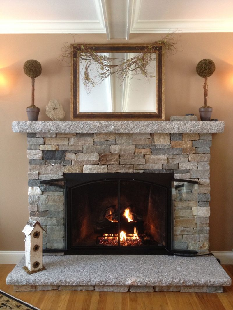 reface fireplace with stone veneer | fireplace | pinterest