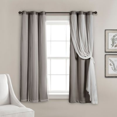 63 Inch Grommet Sheer Room Darkening Lined Window Curtain Panel