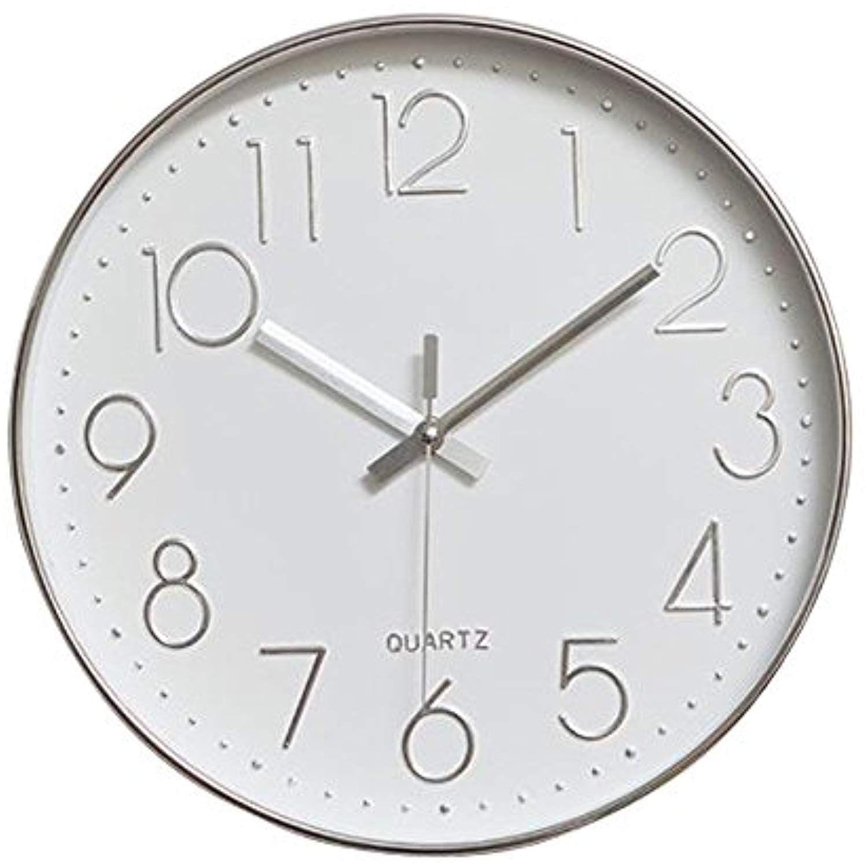 Jomparis Modern 12 Battery Operated Silent Homedcor Wall Clock Silent Silver Wall Clock