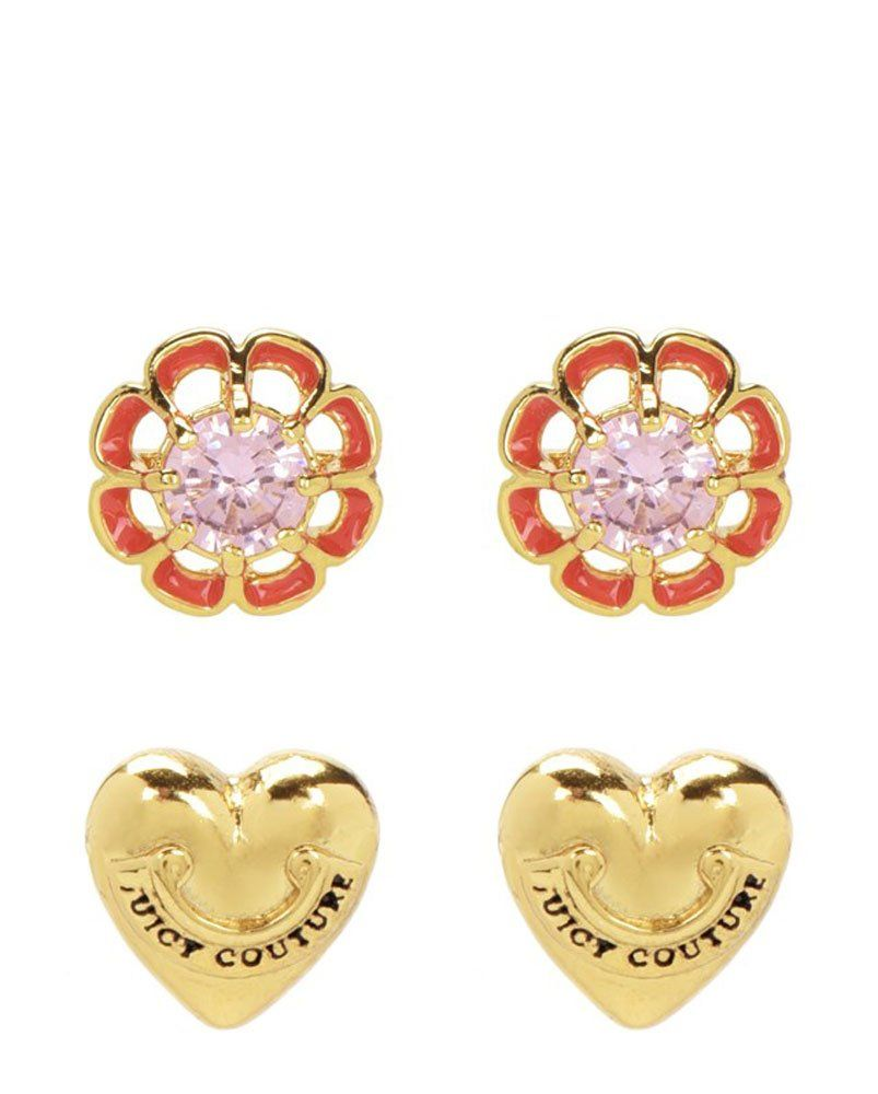 Juicy Couture Enamel Flowers Stud Earrings Set. Mix and match or wear them all at once! Perfect for festival season with enamel accents and signature gold toned Juicy hearts. Post back 90% brass, 8% CZ, 2% titanium.