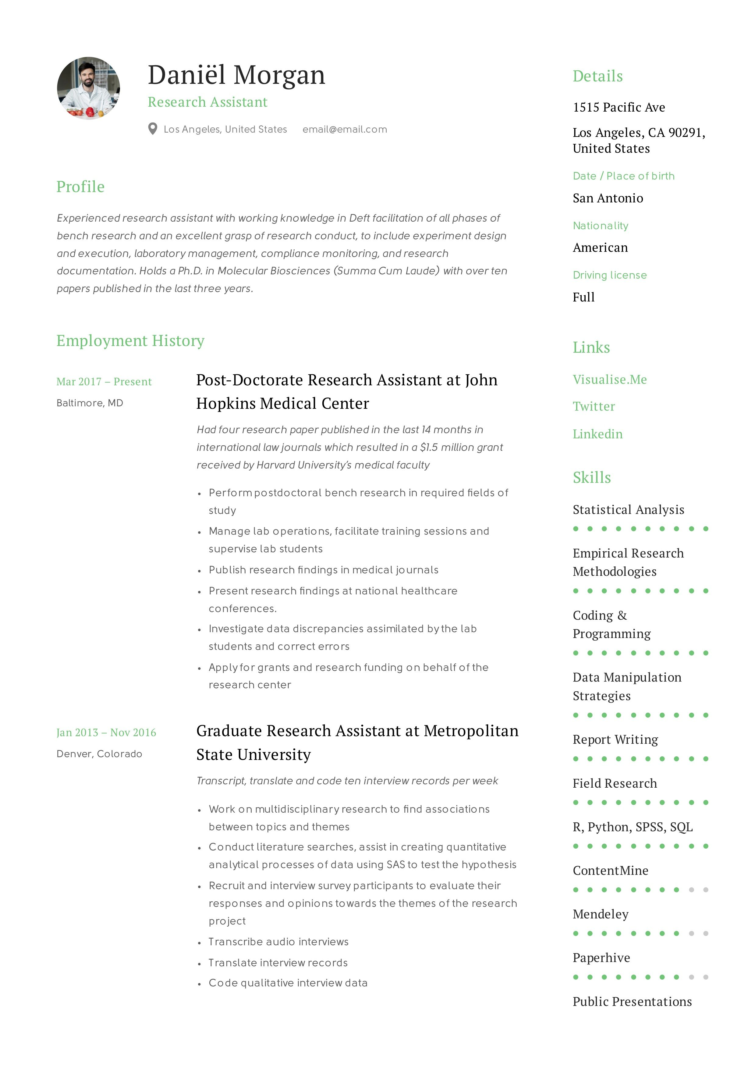 Research Assistant Resume & Writing Guide in 2020