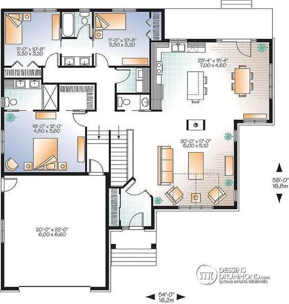 Plan de Rez-de-chaussée Maison style Craftsman, espace ouvert, grand