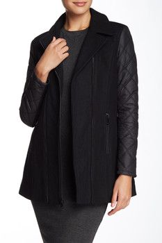 Andrew Marc Faux Leather Trim Wool Blend Jacket
