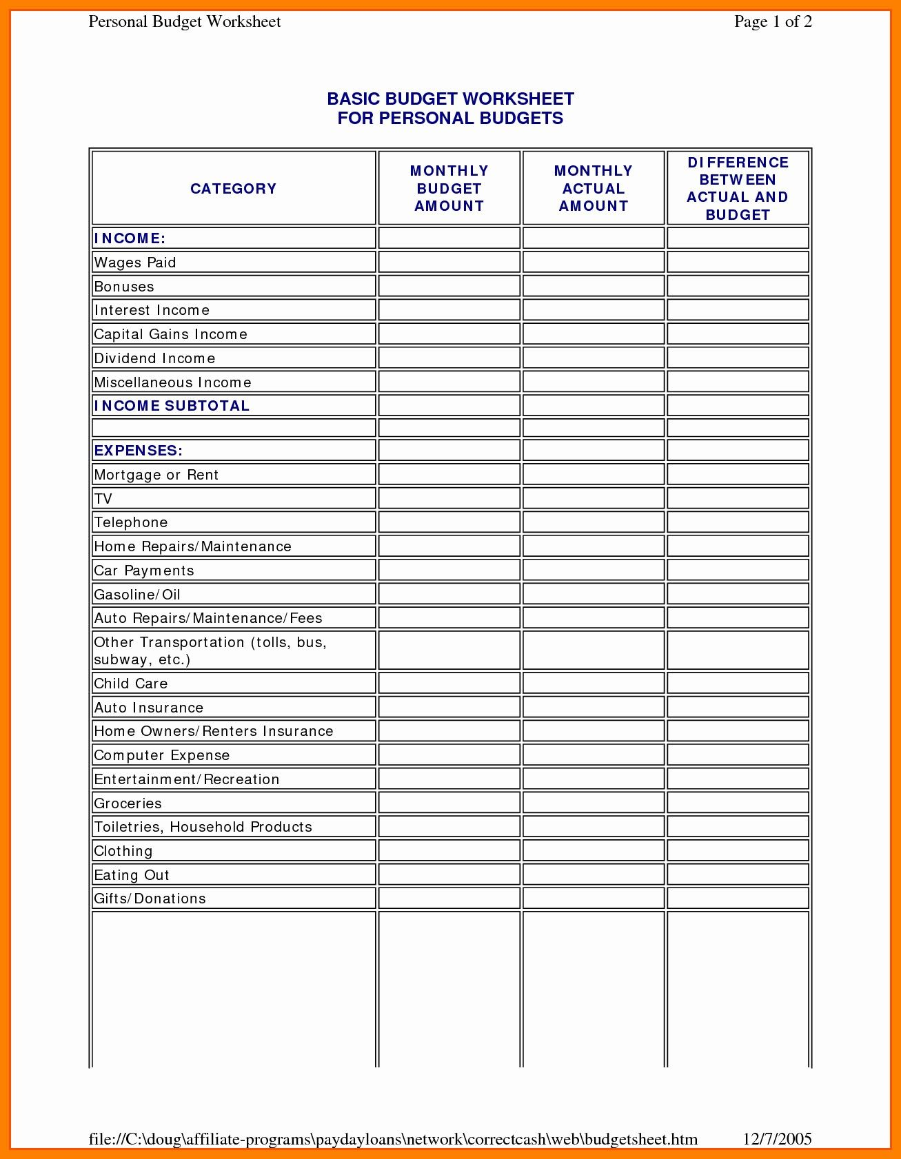 New To Do List Spreadsheet Budgeting Worksheets Personal Budget