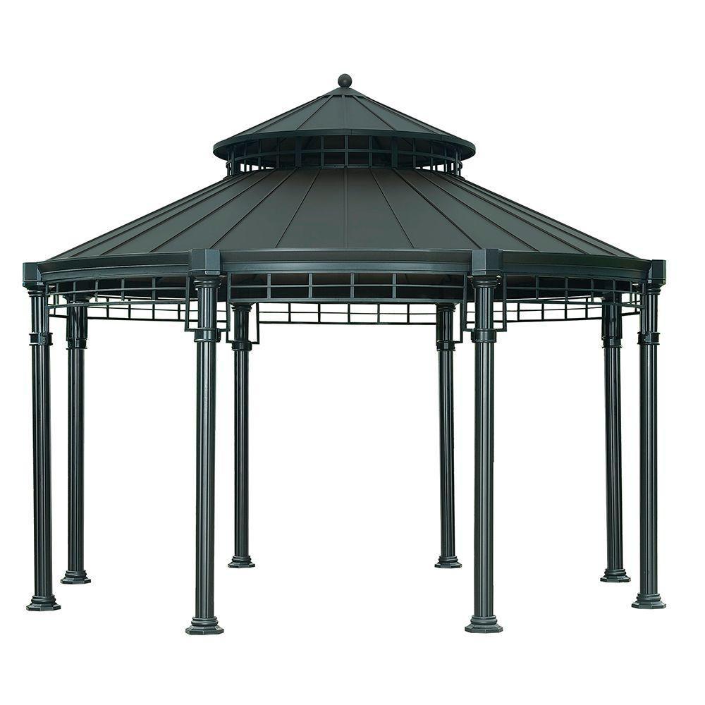 victoria 14 3 ft x 11 4 ft steel round hardtop gazebo hardtop gazebo. Black Bedroom Furniture Sets. Home Design Ideas