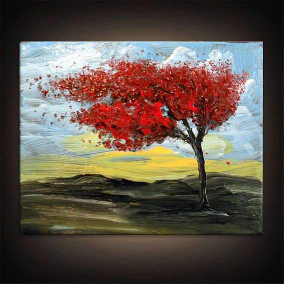 palette knife wind blow tree painting texture painting by mattsart, $125.00