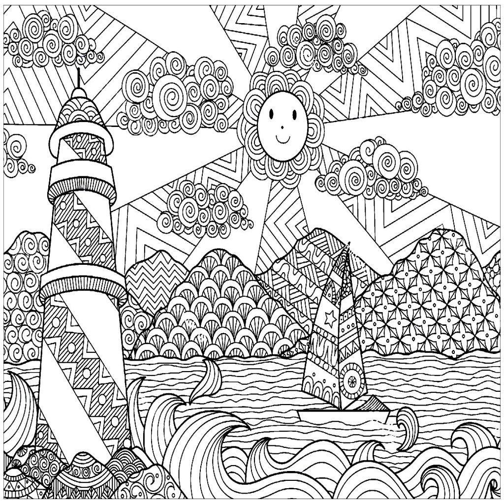 Resultado De Imagen Para Dibujos De Paisajes Para Colorear Con